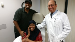 Patient from Somalia with son and Dr. Tobinick at the INR in Boca Raton, June 1, 2015, minutes after treatment.