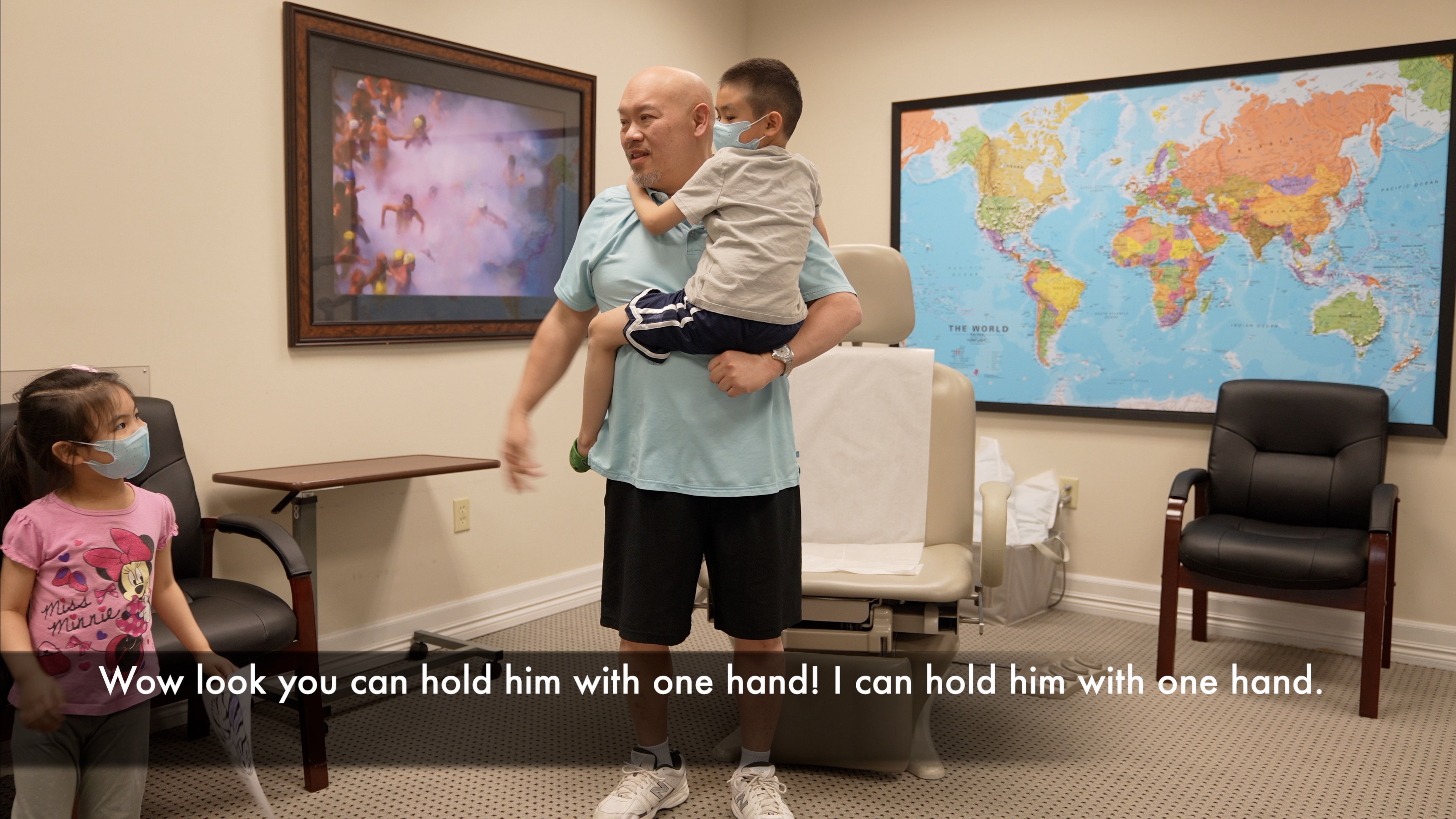 Wow look you can hold him with one hand! After treatment by Edward Tobinick, M.D.